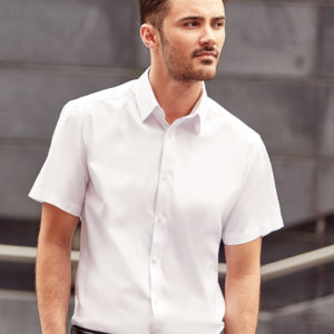 Russell Collection Mens S/S H'Bone Shirt