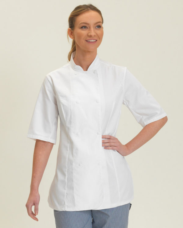 Dennys Ladies S/Sleeve Chefs Jacket