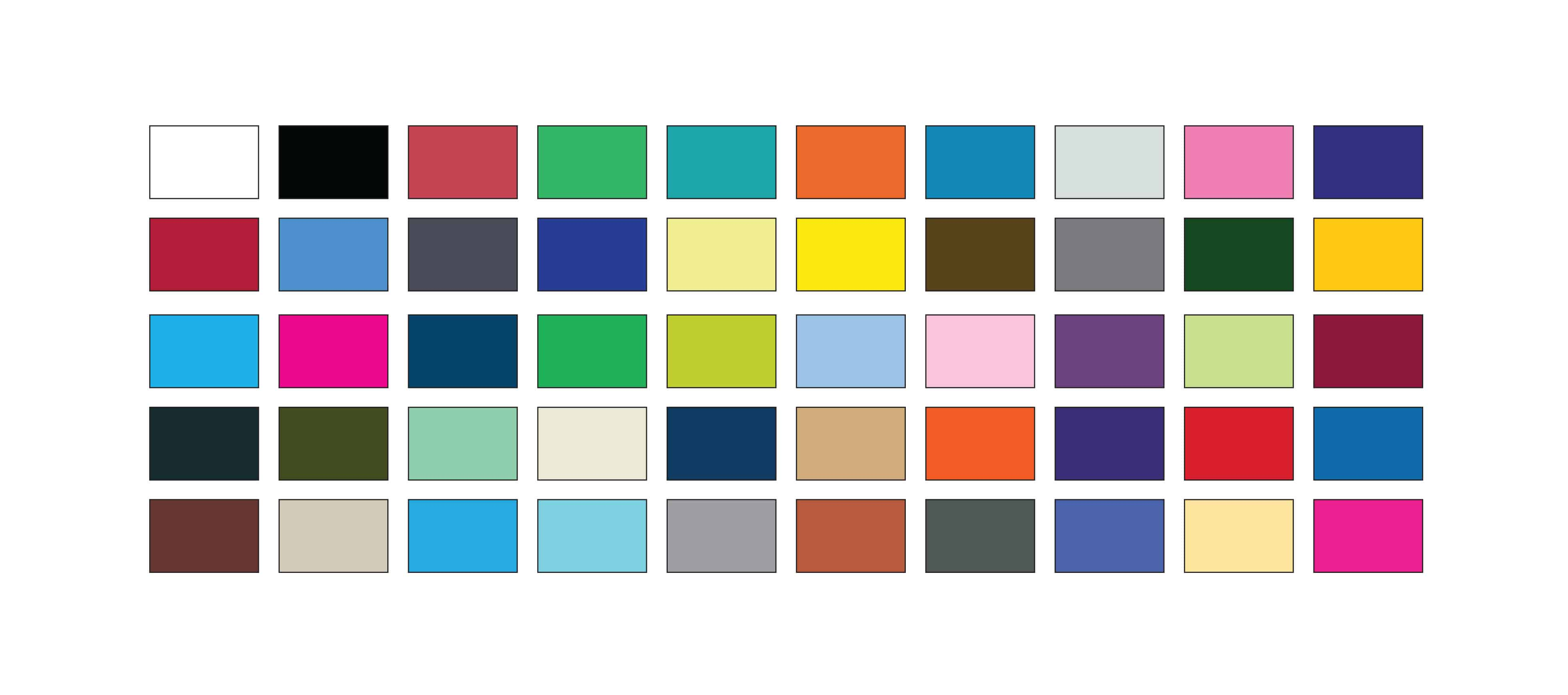 Wide selection of colours for personalised clothing