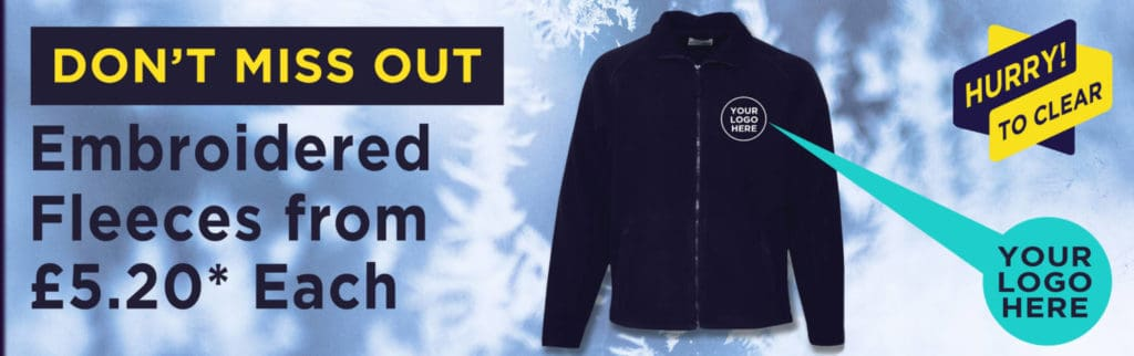 Fleece with embroidered logo, special price of £5.20*