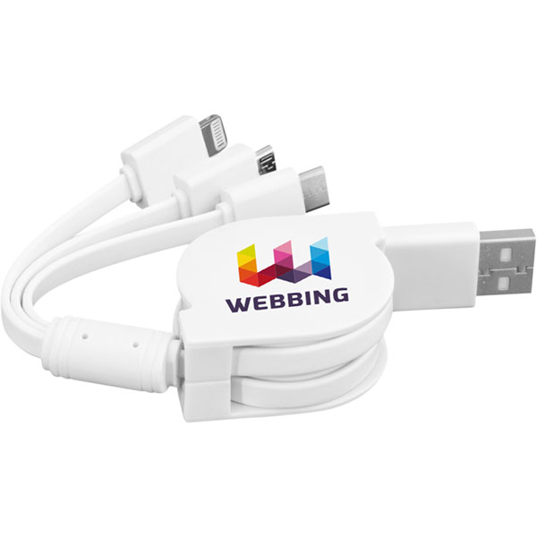 3-in-1 Retractable Charging Cable - Full Colour