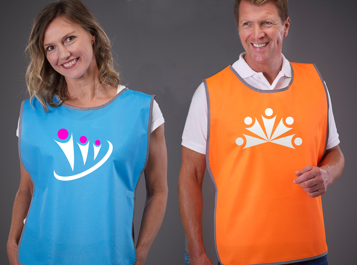 Printed blue and orange charity tabard