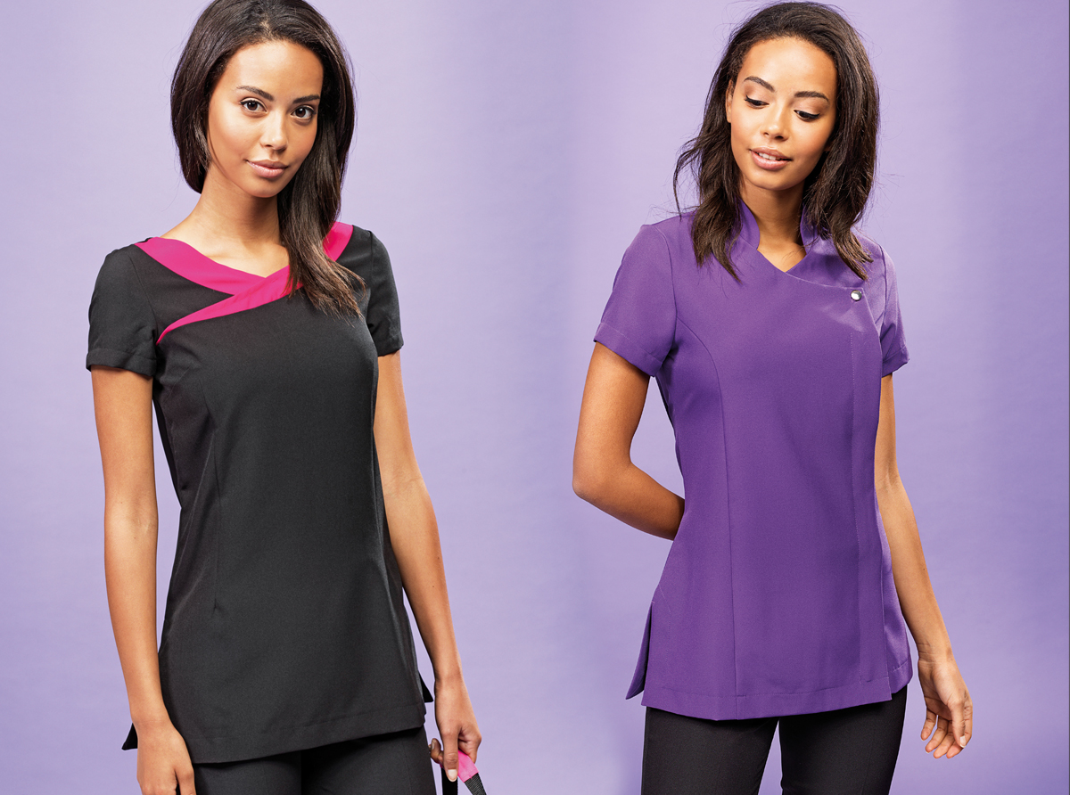 Two pink/black and purple beauty tunics