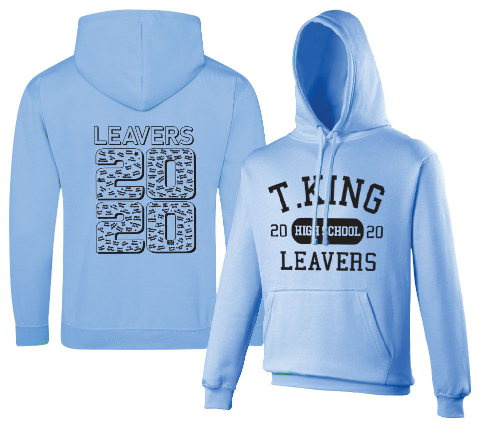 Leavers hoodie with printed names design