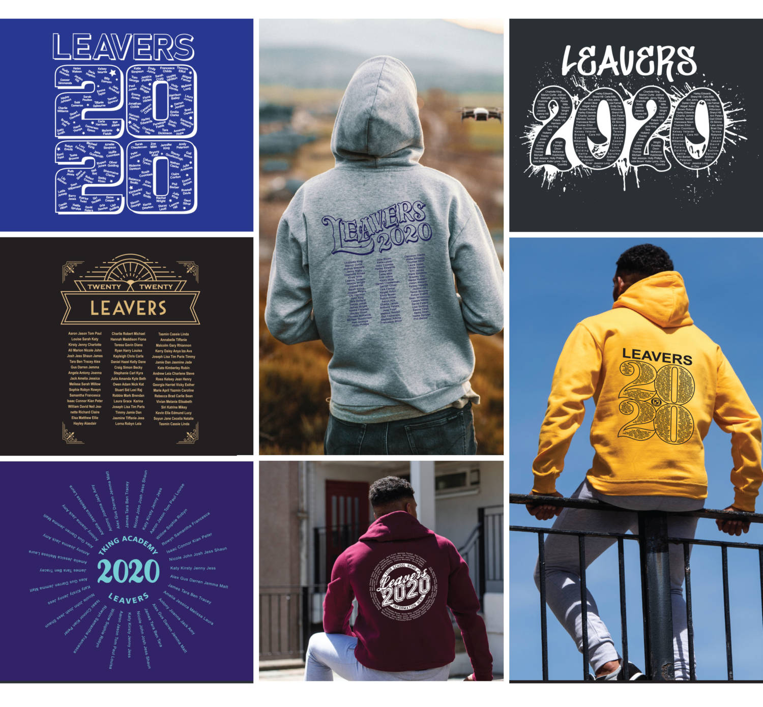 Range of leavers hoodie designs