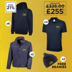Hoodies, Soft Shell Jackets, Polo Shirts and Beanies