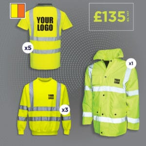 Hi vis polo shirt, sweatshirt and motorway safety jacket.