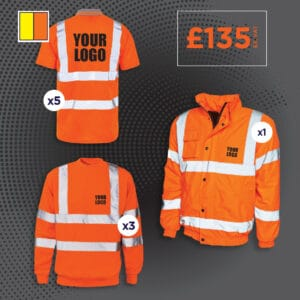Hi vis polo shirt, sweatshirt and bomber jacket.