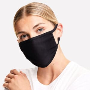 Women wearing black cotton face mask