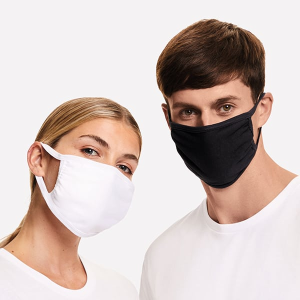 Man and women wearing white and black cotton face mask